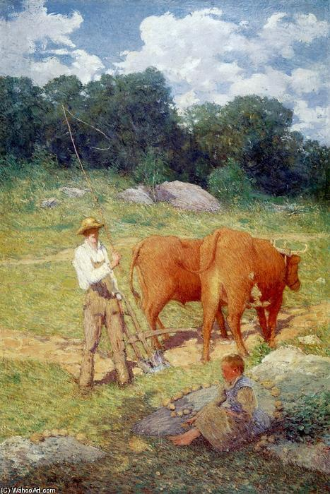famous painting Ploughing for Buckwheat (also known as New England Plowman) of Julian Alden Weir