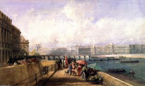 David Cox - The Pont des Arts with the Louvre and Tuileries from the Quai Conti