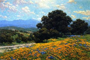 Granville Redmond - Poppy Field with Oaks and Lupines (also known as A Foothill Trail)