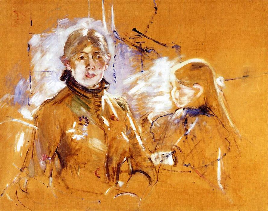 famous painting Portrait of Berthe Morisot and Her Daughter (also known as Self Portrait with Julie) of Berthe Morisot