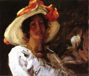 William Merritt Chase - Portrait of Clara Stephens Wearing a Hat with an Orange Ribbon