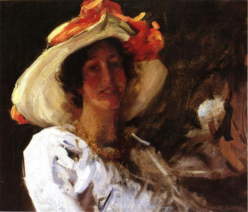 famous painting Portrait of Clara Stephens Wearing a Hat with an Orange Ribbon of William Merritt Chase