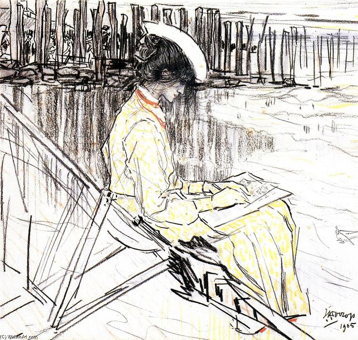 famous painting Portrait of Emma Bellwidt on the Beach at Domburg of Jean Theodoor Toorop