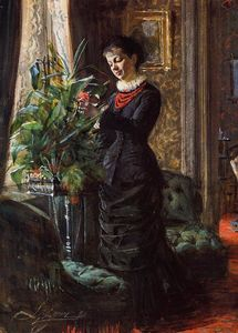Anders Leonard Zorn - Portrait of Fru Lisen Samson, nee Hirsch, Arranging Flowers at a Window