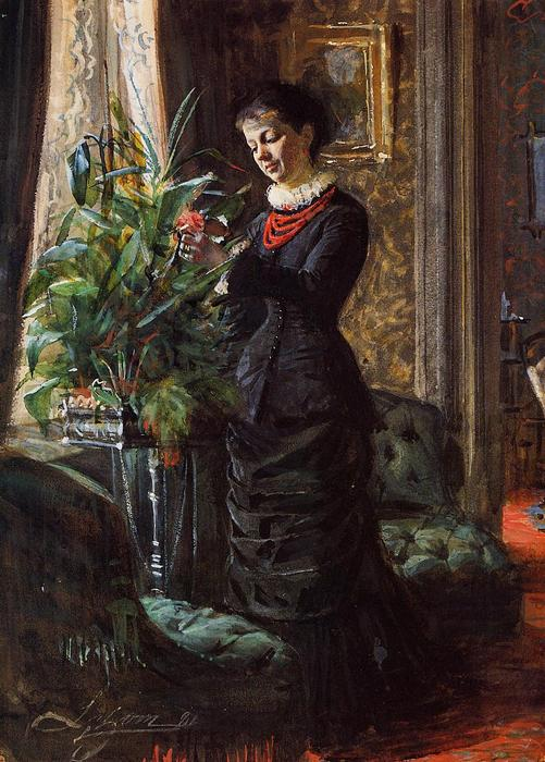 famous painting Portrait of Fru Lisen Samson, nee Hirsch, Arranging Flowers at a Window of Anders Zorn