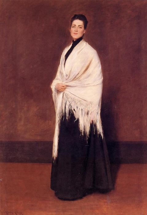 famous painting Portrait of Lady C. (also known as Lady with a White Shawl) of William Merritt Chase