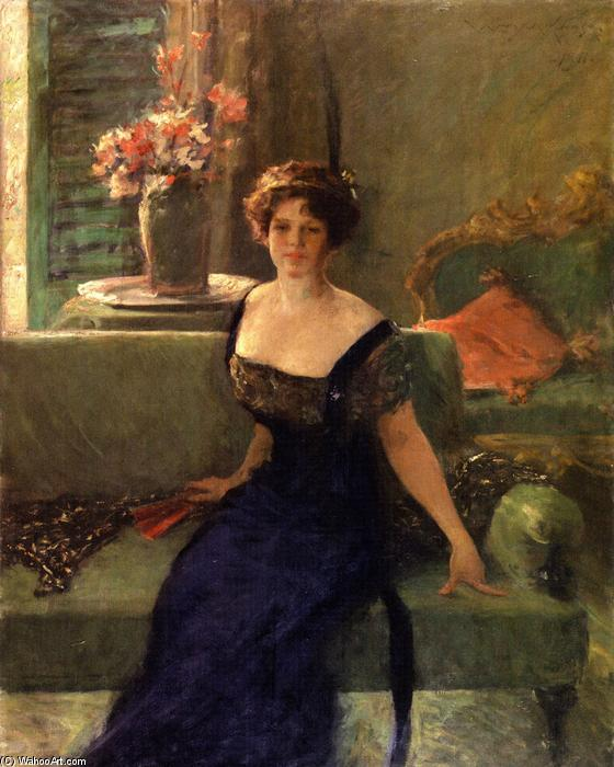 famous painting Portrait of a Lady in Black (also known as Annie Traquair Lang) of William Merritt Chase