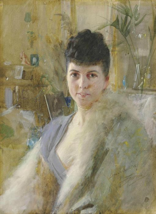 famous painting Portrait of a Lady in a Drawing Room of Anders Leonard Zorn