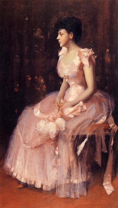 famous painting Portrait of a Lady in Pink (also known as Lady in Pink - Portrait of Mrs. Leslie Cotton) of William Merritt Chase