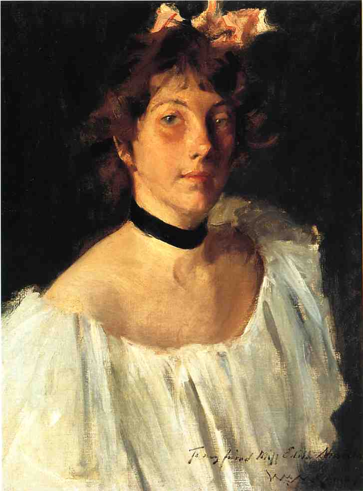 famous painting Portrait of a Lady in a White Dress (also known as Miss Edith Newbold) of William Merritt Chase