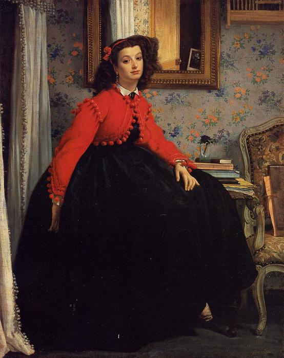 famous painting Portrait of Mademoiselle L. L. (also known as Young Woman in a Red Jacket) of James Jacques Joseph Tissot