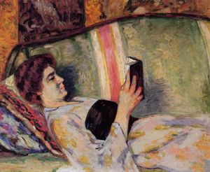 Jean Baptiste Armand Guillaumin - Portrait of Marguerite Guillaumin Reading