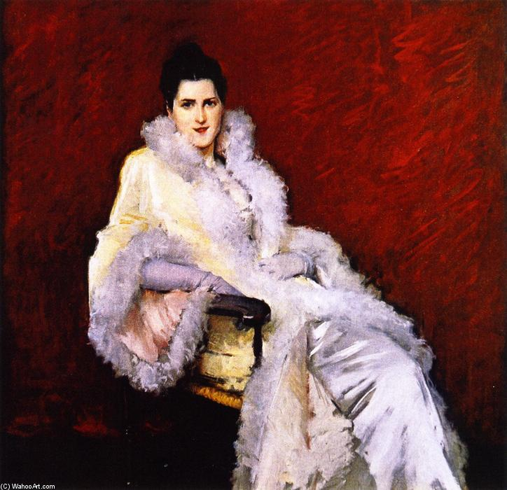 famous painting Portrait of Miss C. (also known as Lady in Opera Cloak, Portrait of Mrs. Clark) of William Merritt Chase