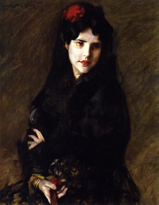 famous painting Portrait of Mrs. C (also known as The Artist's Wife) of William Merritt Chase