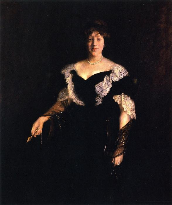 famous painting Portrait of Mrs. H. (also known as Mrs. H, Lady in Black) of William Merritt Chase