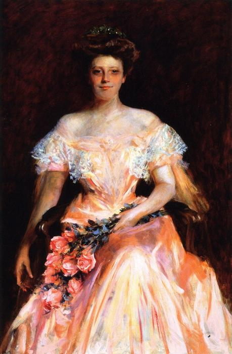 famous painting Portrait of a Woman (also known as Miss Dickerman) of William Merritt Chase