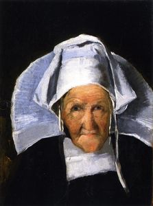 Julian Alden Weir - Portrait of a Woman in Normandy Cap