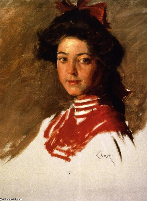 famous painting Portrait Sketch: Girl in a Middy Blouse of William Merritt Chase