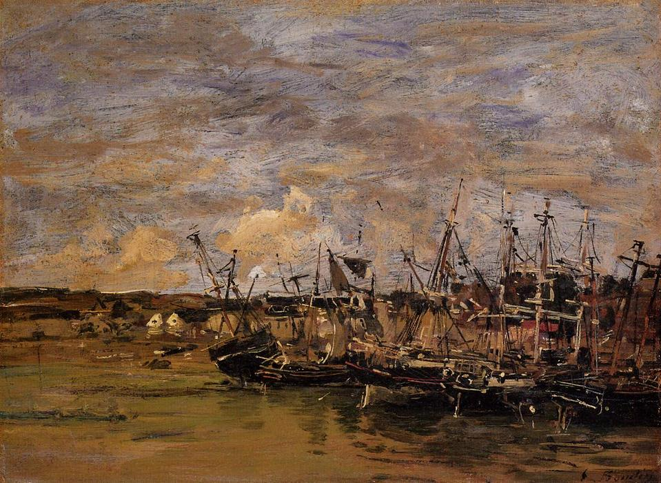 famous painting Portrieux, Fishing Boats at Low Tide of Eugène Louis Boudin
