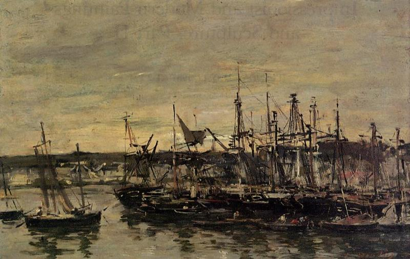 famous painting Portrieux, the Port of Eugène Louis Boudin
