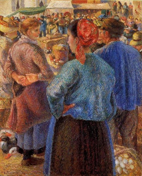 famous painting The Poultry Market at Pontoise of Camille Pissarro