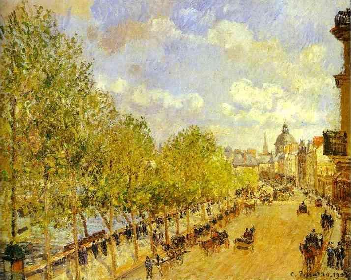 famous painting Quai Malaquais in the Afternoon, Sunshine of Camille Pissarro
