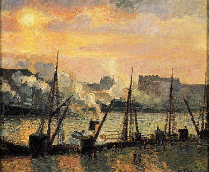 famous painting Quay in Rouen: Sunset of Camille Pissarro