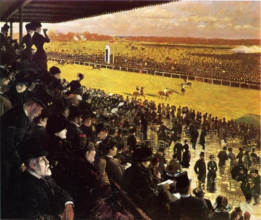 famous painting The Races at Longchamps from the Grandstand of Giuseppe De Nittis