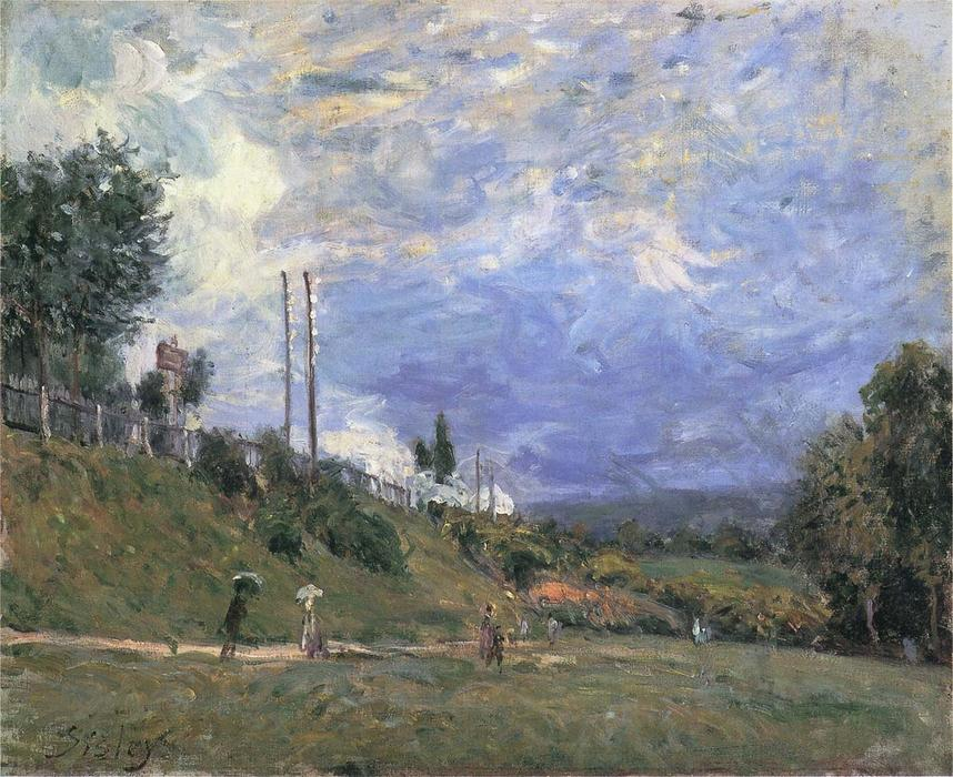 famous painting Railroad near Sevres (also known as Le Talus de cChemin de Fer a Sevres) of Alfred Sisley