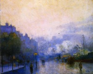Lesser Ury - Rainy Day in London, Thames Port