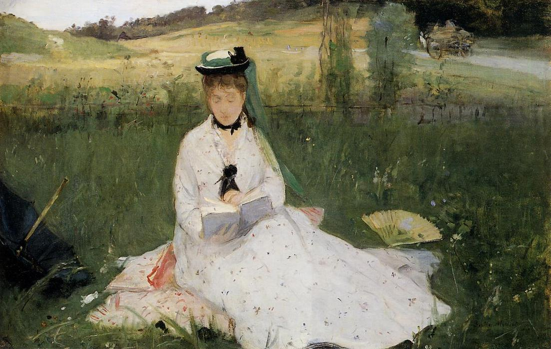 famous painting Reading with Green Umbrella of Berthe Morisot