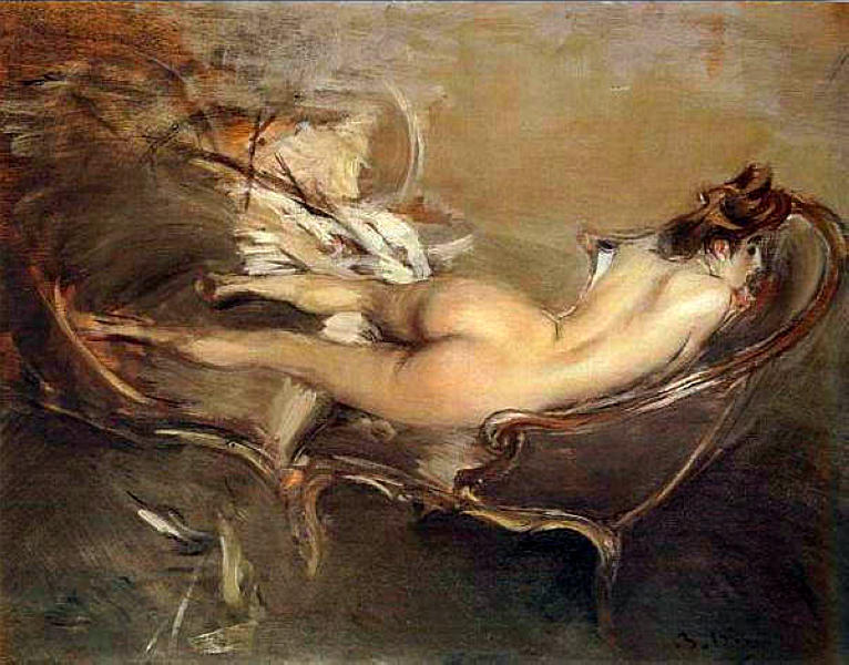 famous painting A Reclining Nude on a Day-Bed of Giovanni Boldini