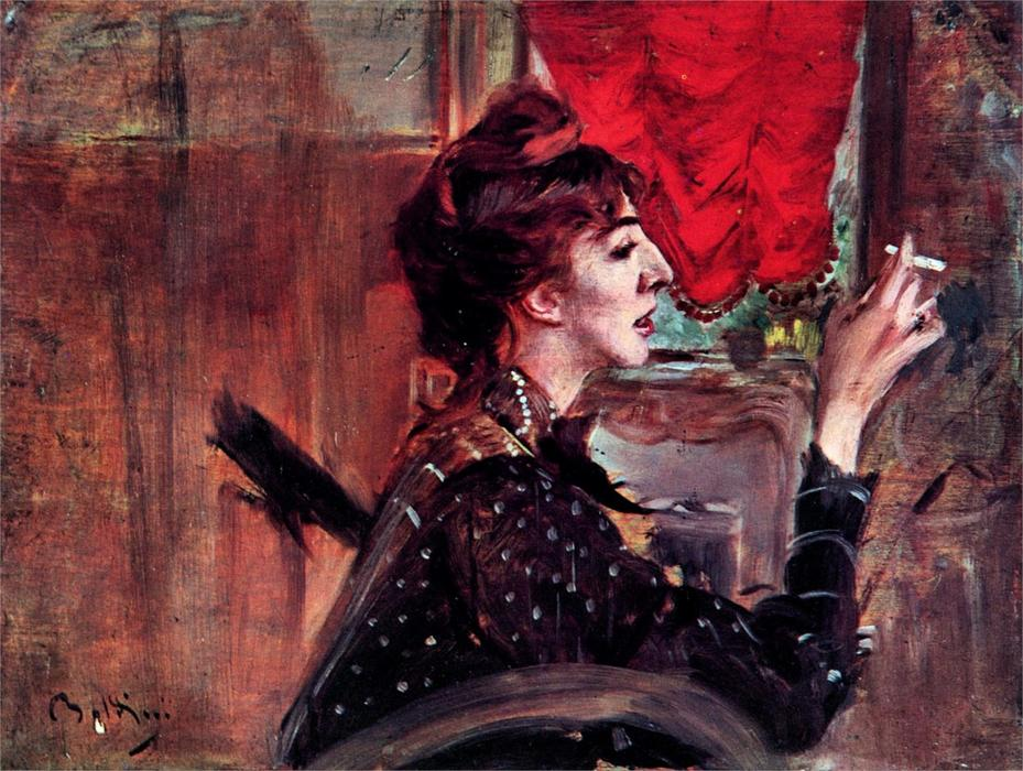 famous painting The Red Curtain of Giovanni Boldini