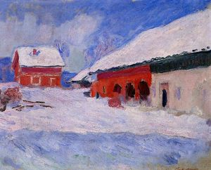 Claude Monet - Red Houses at Bjornegaard in the Snow, Norway