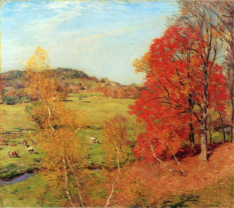 famous painting Red Maple of Willard Leroy Metcalf