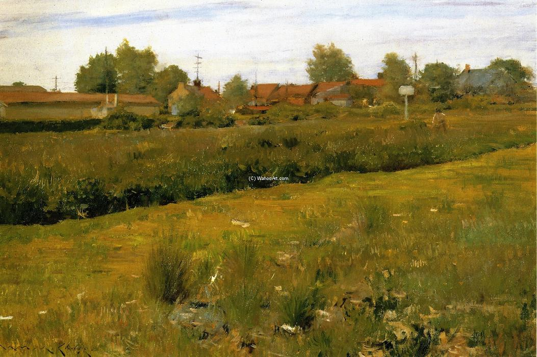 famous painting Red Roofs of Bristol, Pennsylvania of William Merritt Chase