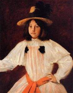 William Merritt Chase - The Red Sash (also known as Portrait of the Artist's Daughter)