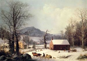 George Henry Durrie - Red School House, Winter