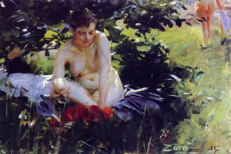 famous painting Red Stockings of Anders Leonard Zorn