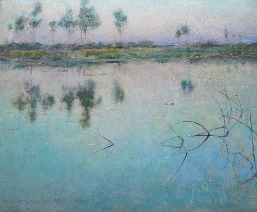 famous painting Reflections at Grez sur Loing of Willard Leroy Metcalf