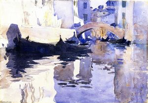 John Singer Sargent - Rio di San'Andrea, Venice (also known as A View of Venice, with Empty Gondolas in a Canal)