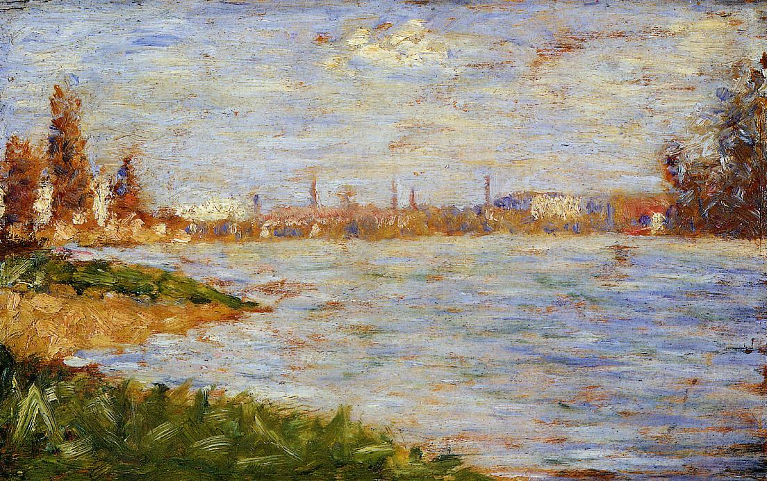 famous painting The Riverbanks of Georges Pierre Seurat
