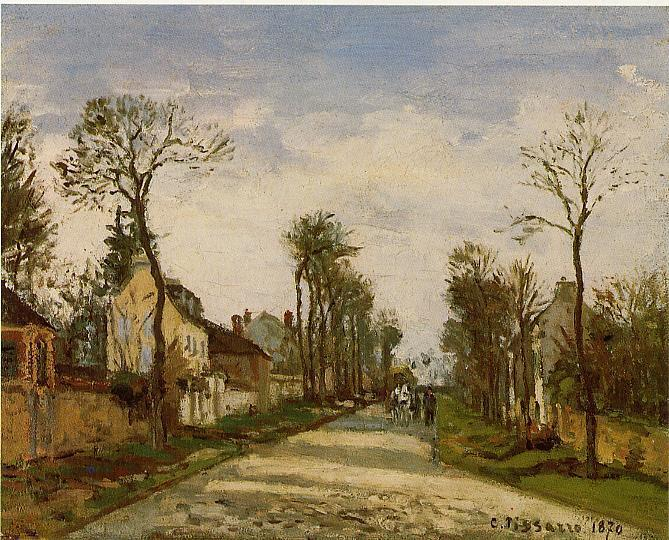 famous painting The Road to Versailles at Louveciennes of Camille Pissarro