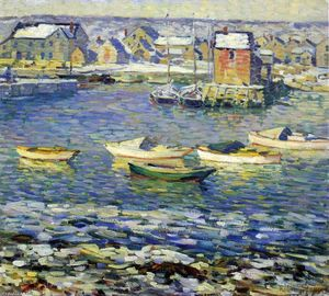 Robert Spencer - Rockport, Boats in a Harbor