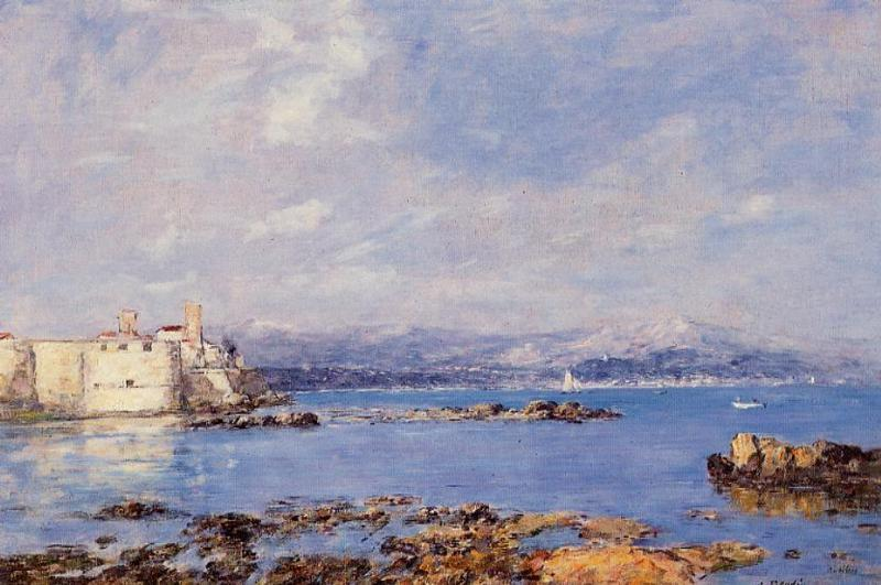 famous painting The Rocks of l'Ilette and the Fortifications of Eugène Louis Boudin