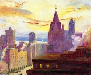 Colin Campbell Cooper - Rooftops at Sunset