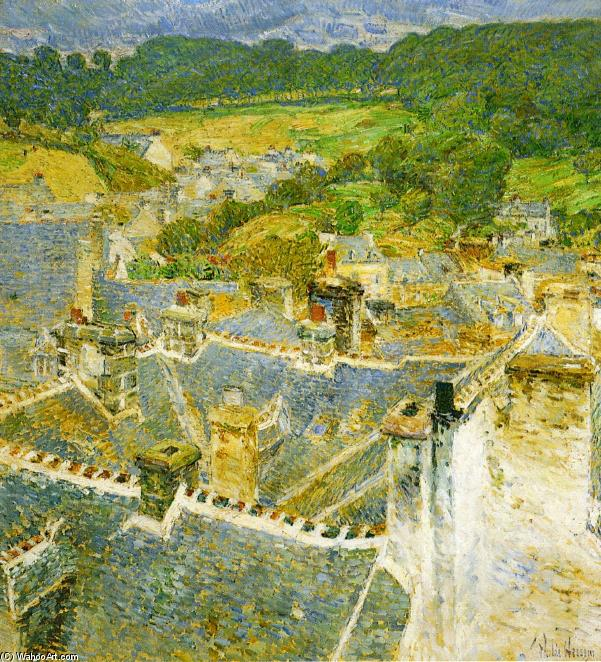 famous painting Rooftops: Pont-Aven of Frederick Childe Hassam