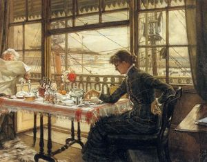James Jacques Joseph Tissot - Room Overlooking the Harbor
