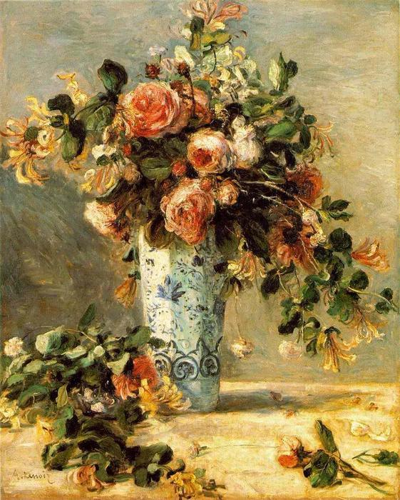 famous painting Roses and Jasmine in a Delft Vase of Pierre-Auguste Renoir