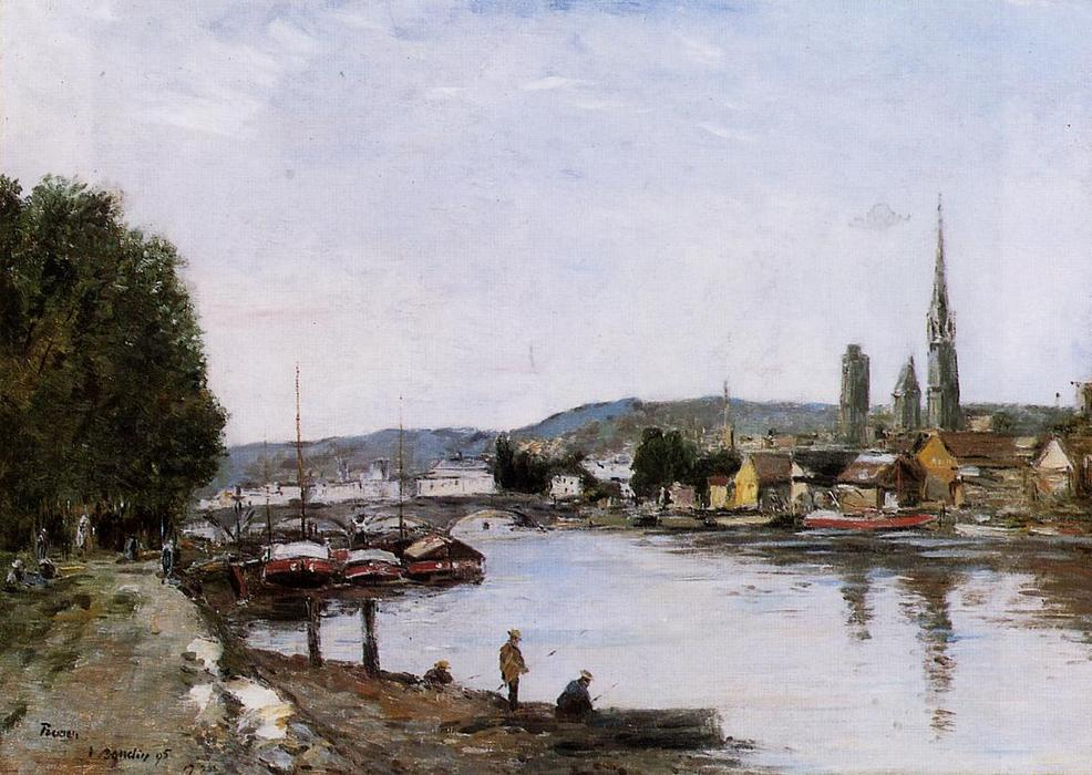 famous painting Rouen, View from the Queen's Way of Eugène Louis Boudin